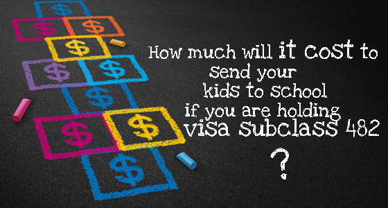 How much it cost to send your kids to school if you are holding visa 482