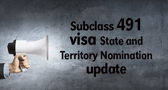 Subclass 491 visa State and Territory Nomination update